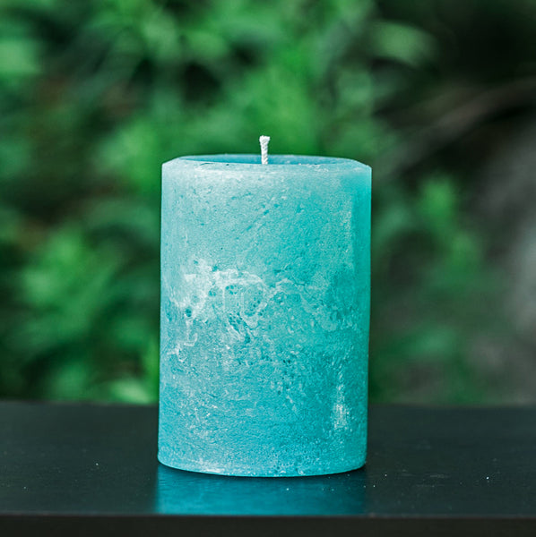 Light Teal Rustic Unscented Pillar Candle - Large 4 Inch Wide