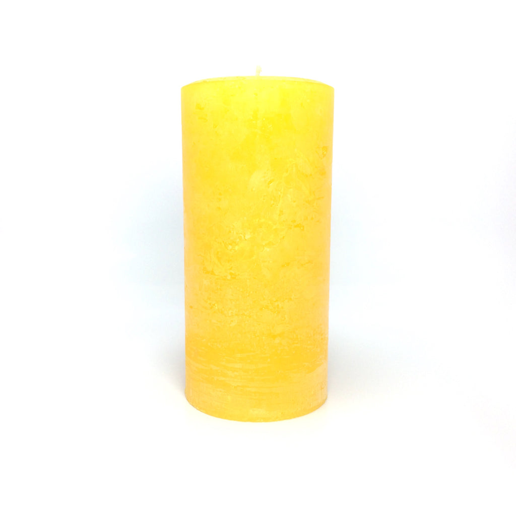 "Bright Yellow / Gold Rustic Unscented Large 4"" Wide Pillar Candle"
