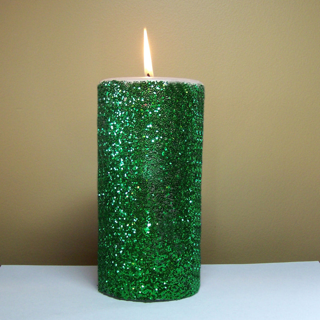 Green Glitter Unscented Pillar Candle - Still Water Candles - 1