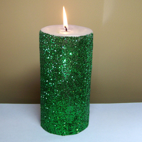 Green Glitter Unscented Pillar Candle - Still Water Candles - 3
