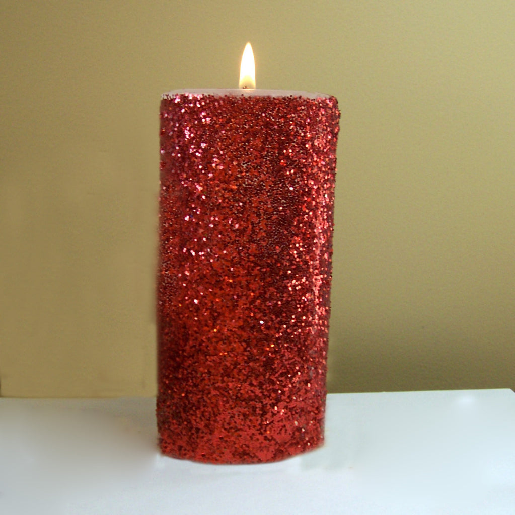 Red Glitter Unscented Pillar Candle - 4, 6, 9 inch - FREE GIFT WRAP - Still Water Candles - 1