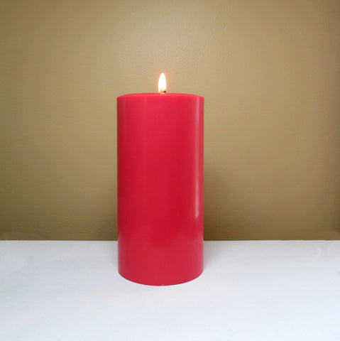 Red Unscented Soy Pillar Candle - Still Water Candles - 1