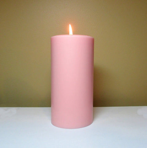 Light Pink Unscented Pillar Candle - Still Water Candles - 1