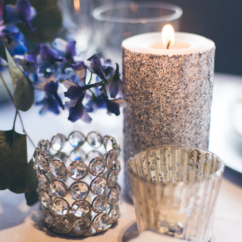Silver Glitter Pillar Candle - Still Water Candles - 1