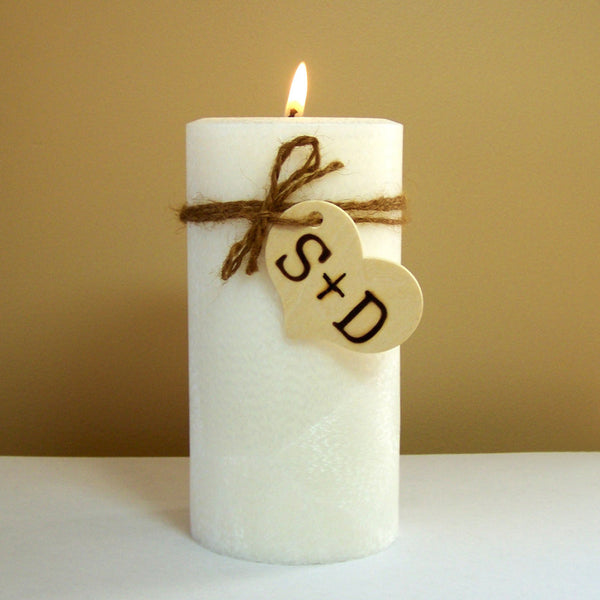 Personalized Rustic Unity Wedding Candle Set and Stand- Monogramed - Still Water Candles - 2