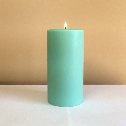 Light Green Unscented Pillar Candle - Still Water Candles - 1