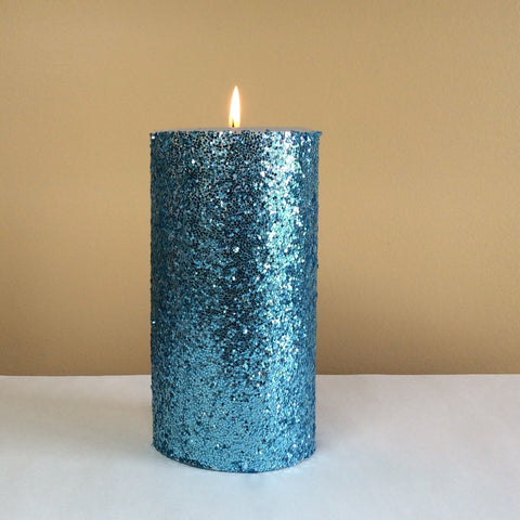 Light Blue Glitter Pillar Candle - Still Water Candles - 1