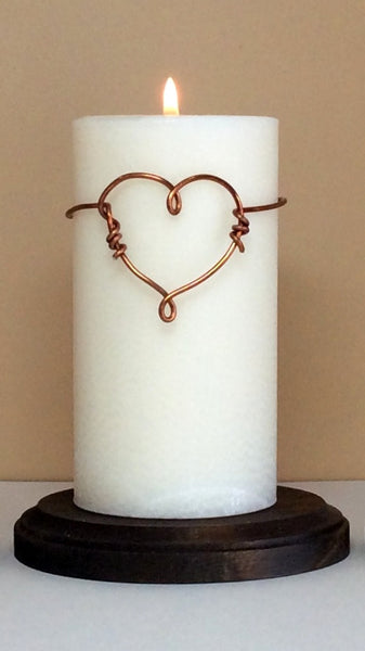 NEW - Unity Candles Set with Copper Wire Heart - Still Water Candles - 2