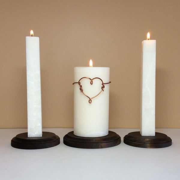 NEW - Unity Candles Set with Copper Wire Heart - Still Water Candles - 1