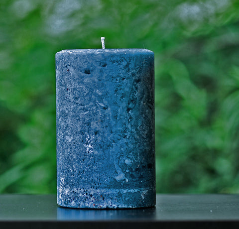 "Navy Blue Rustic Unscented Large 4"" Wide Pillar Candle"