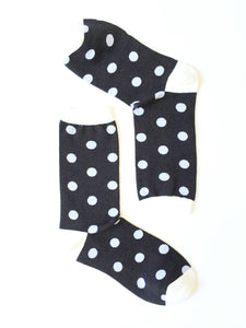 POLKA DOTS WHITE ON BLACK CREW SOCKS
