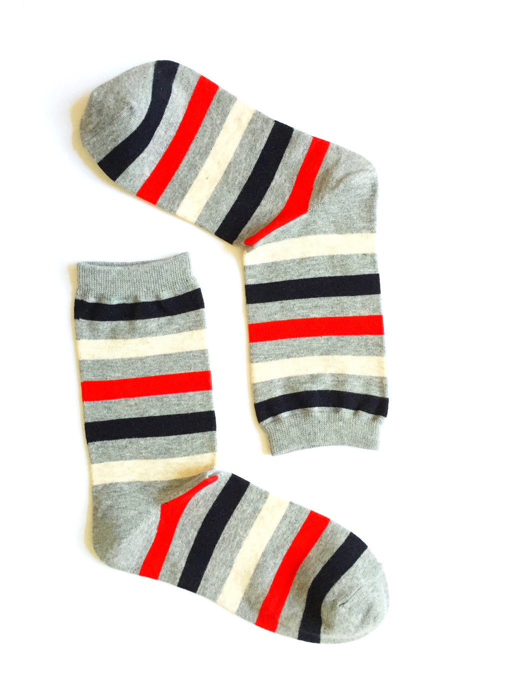 WIDE STRIPES RED CREW SOCKS