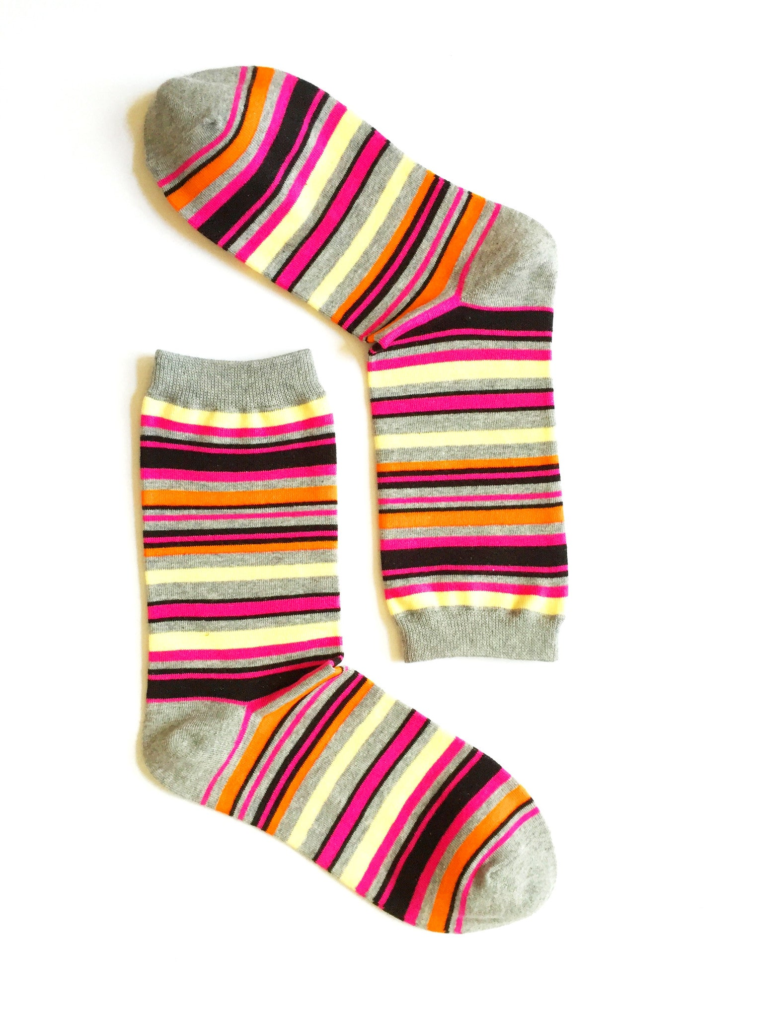 MULTI STRIPES - PINK CREW SOCKS