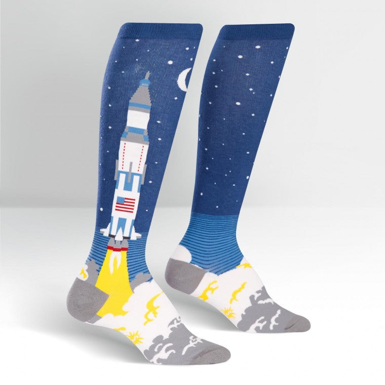 Lift off to space knee high socks
