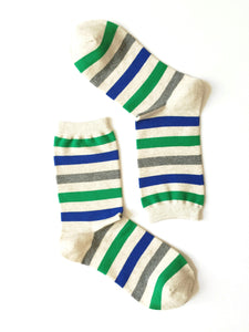 WIDE STRIPES - GREEN & BLUE CREW SOCKS