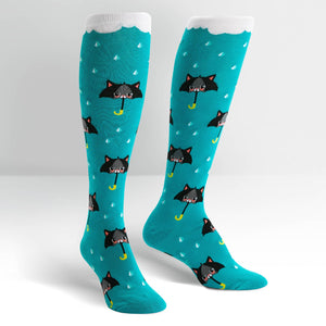Funky knee high socks featuring raining cats