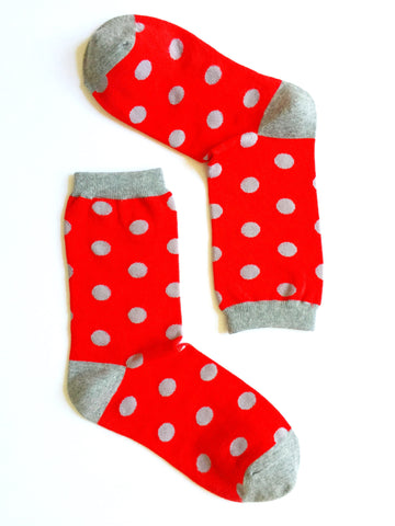 DOTS GREY ON RED CREW SOCKS