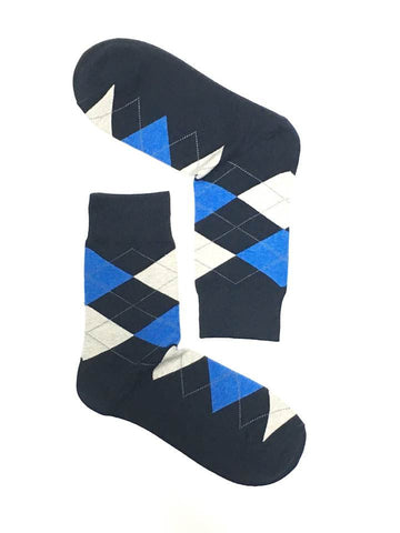 ARGYLE BLUE CREW SOCKS