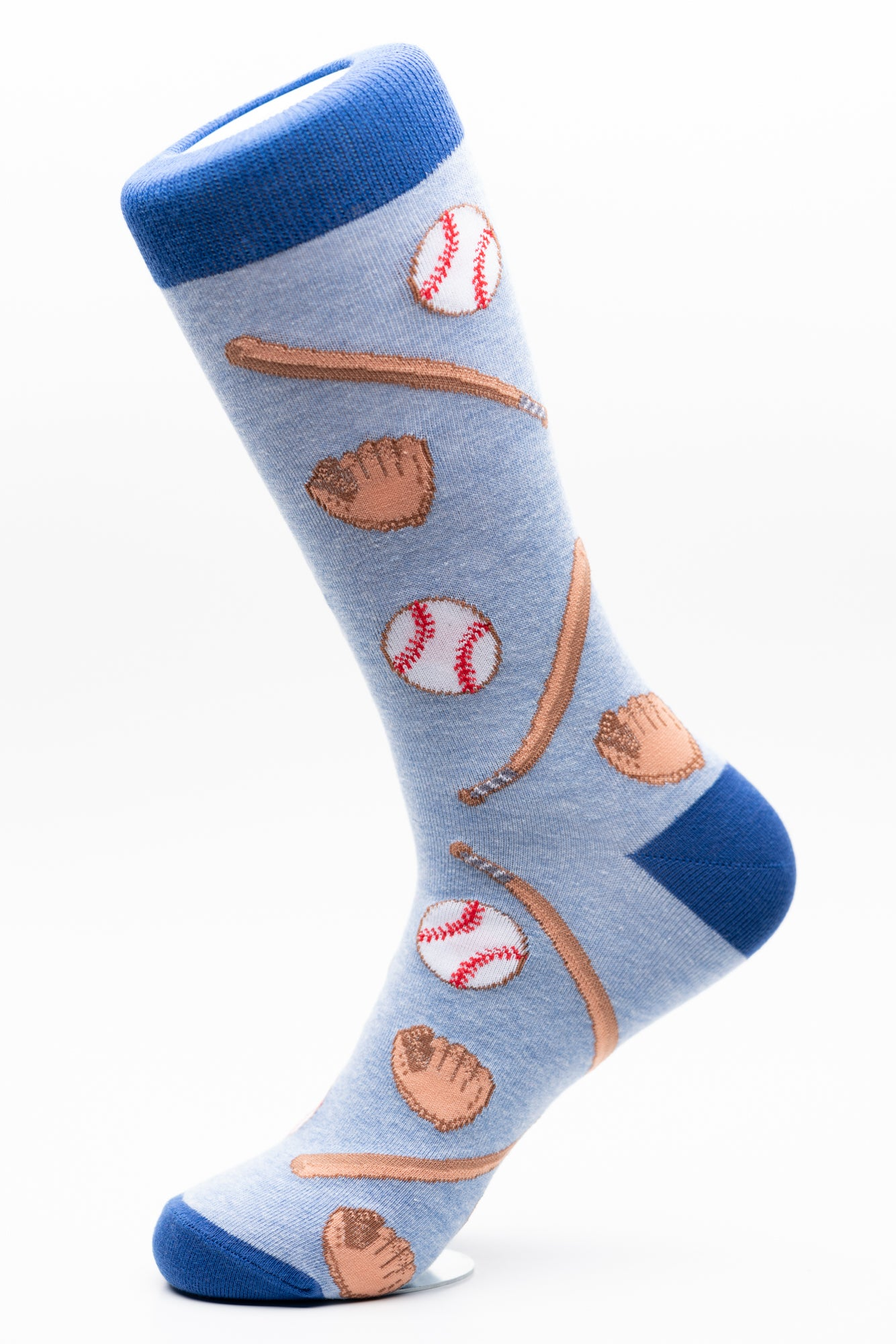 Baseball glove, bat and ball fun crew socks