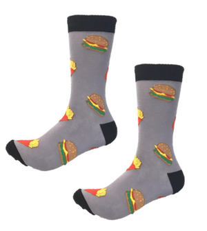 Burger and fries crew socks