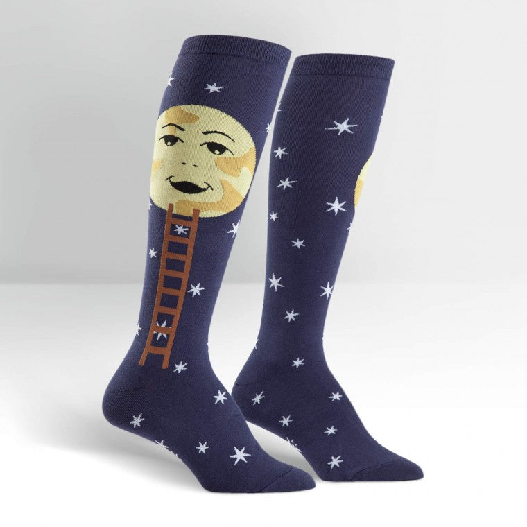 Man on moon knee high socks
