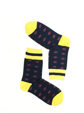 DOTS RED ON BLACK CREW SOCKS