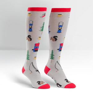 Funky Knee High Socks | Happy Camper by sock it to me