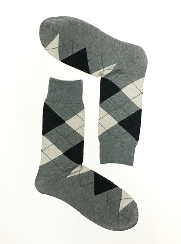 ARGYLE GREY CREW SOCKS