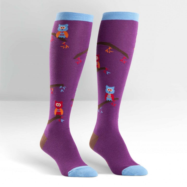 Funky Knee High Socks | Tree Owls by sock it to me