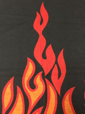 Fire print with flames head wear
