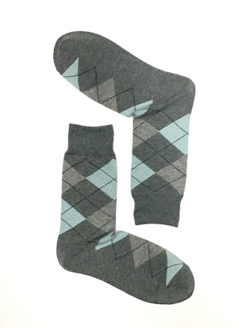 ARGYLE LIGHT GREY CREW SOCKS