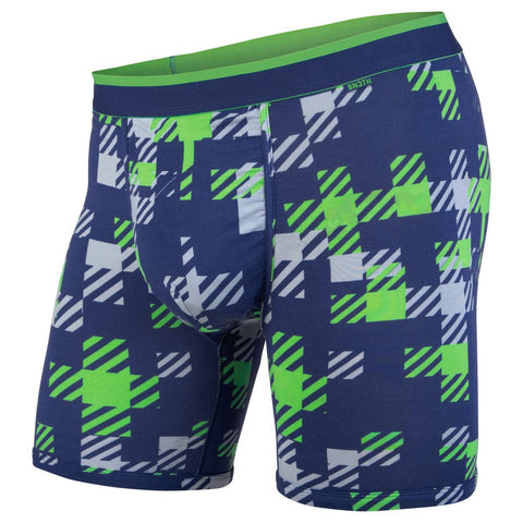 PLAID GREEN NAVY BOXER BRIEFS