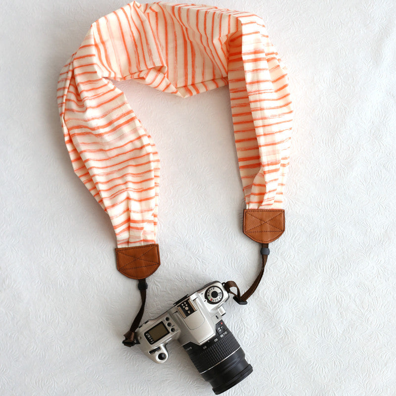 scarf camera strap watercolor stripe peach - BCSCS052