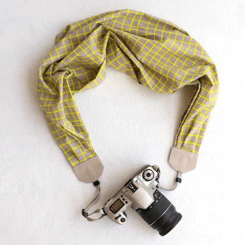 scarf camera strap neon windowpane - BCSCS031