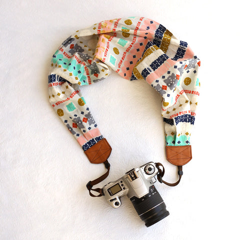 scarf camera strap boho stripes - BCSCS005