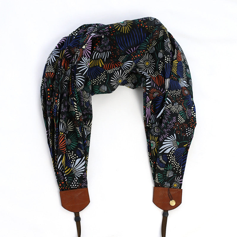 *luxury batiste cotton* scarf camera strap midnight terrace - BCSCS092