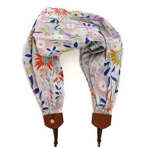 *organic luxury batiste cotton* scarf camera strap wild heather - BCSCS091