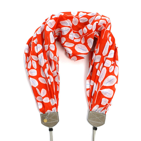 *luxury batiste cotton* scarf camera strap sweet clementine - BCSCS093