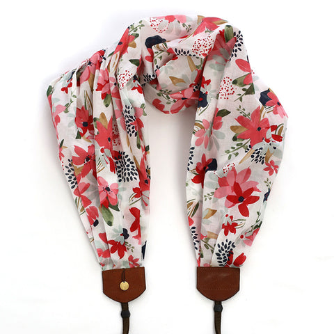 *organic luxury batiste cotton* scarf camera strap bashful blooms - BCSCS095