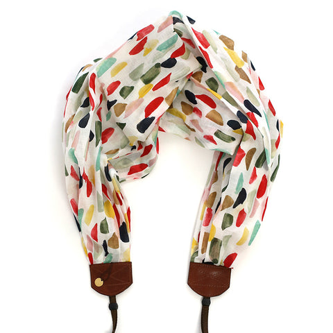 *organic luxury batiste cotton* scarf camera strap inky fingers - BCSCS103