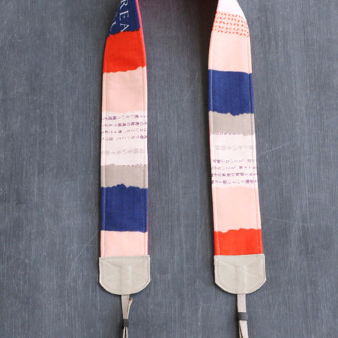 padded camera strap coral peach indigo - BCPCS001