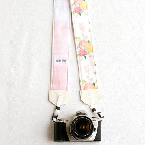 padded camera strap watercolor wedding - BCPCS008