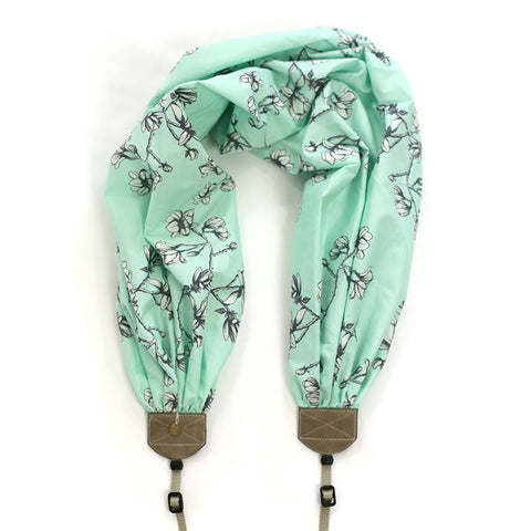 scarf camera strap flowering magnolia mint - BCSCS129