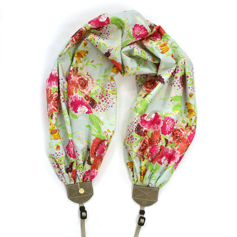 scarf camera strap painted bouquet - BCSCS132