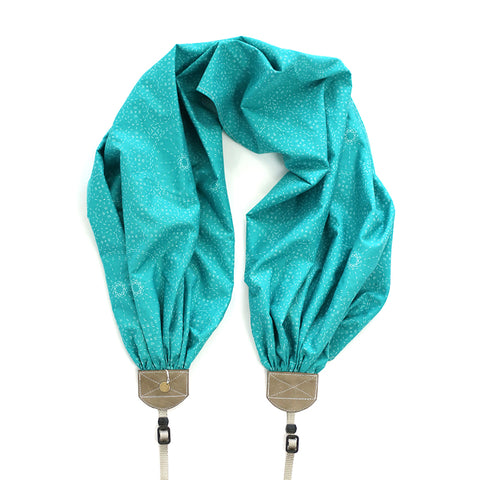 scarf camera strap in stitches teal - BCSCS135