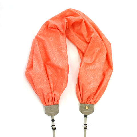 scarf camera strap in stitches coral - BCSCS136