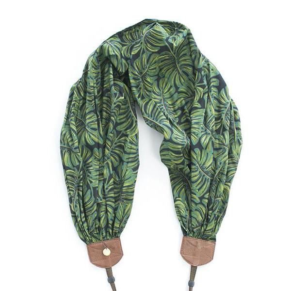 scarf camera strap monstera palm - BCSCS120