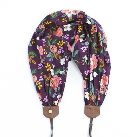 scarf camera strap plum birch bark floral - BCSCS125