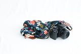 scarf camera strap navy birch bark floral - BCSCS082