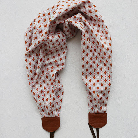 scarf camera strap autumn rust geometric - BCSCS070
